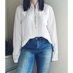 Eileen Fisher Linen Mandarin Collar Button Down